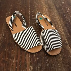 striped open toe sandals